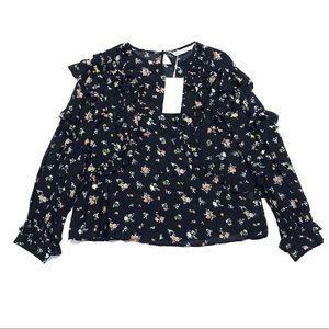 NWT Zara Long Sleeve Ruffled Floral Printed Top
